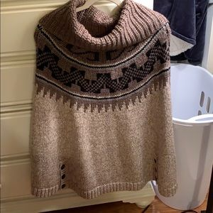 AEO M Cowl Neck Knitted Tan and Charcoal Poncho